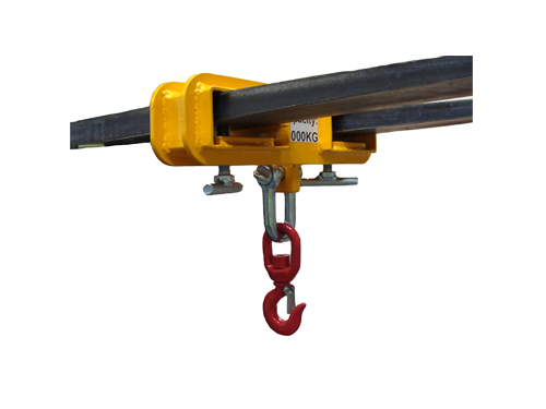 Forklift attachment with hook below